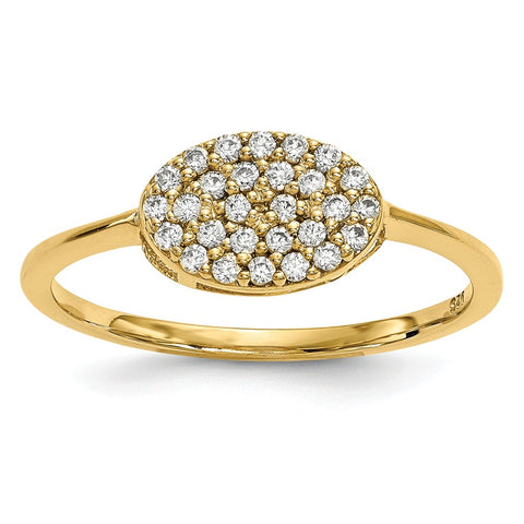 14k Diamond Cluster Oval Ring