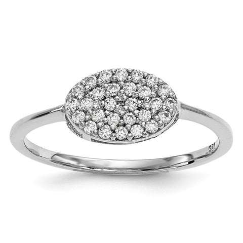14k White Gold Diamond Cluster Oval Ring