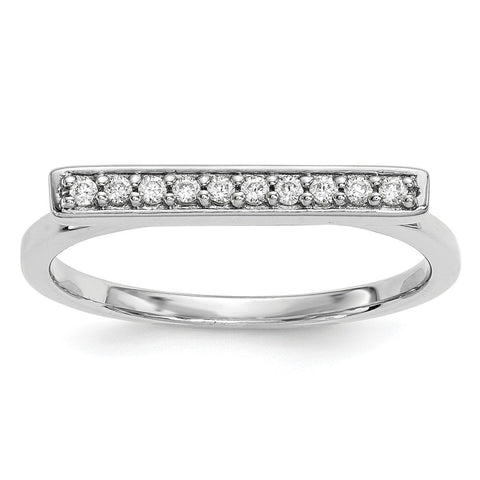 14k White Gold Diamond Bar Ring