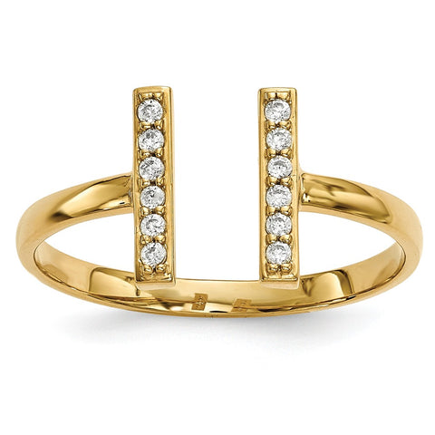 14k Diamond Double Bar Ring