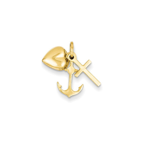 14k Heart Cross and Anchor Charm