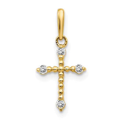 14k CZ Children's Cross Pendant
