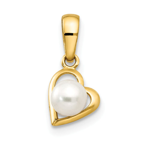 14k FW Cultured Pearl Children's Heart Pendant