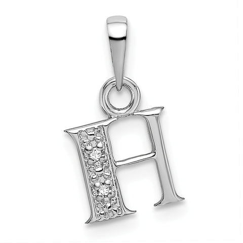 14K White Gold Polished .01ct Diamond Initial H Charm