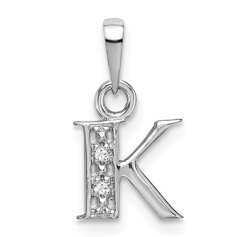 14K White Gold Polished .01ct Diamond Initial K Charm