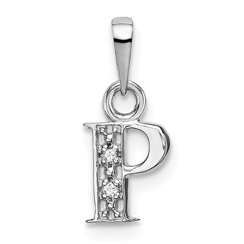 14K White Gold Polished .01ct Diamond Initial P Charm