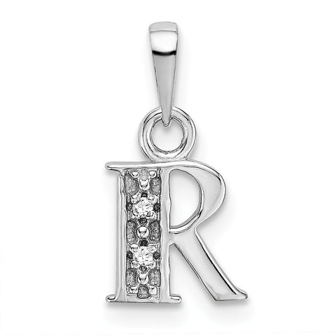 14K White Gold Polished .01ct Diamond Initial R Charm