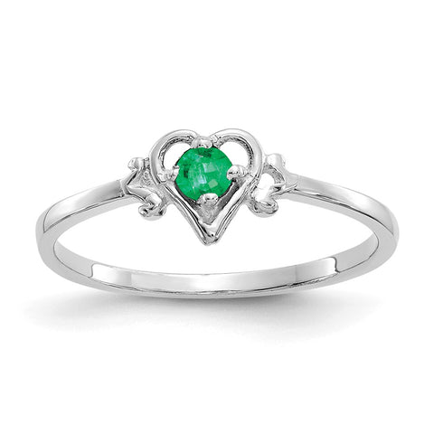 14K White Gold Emerald Birthstone Heart Ring