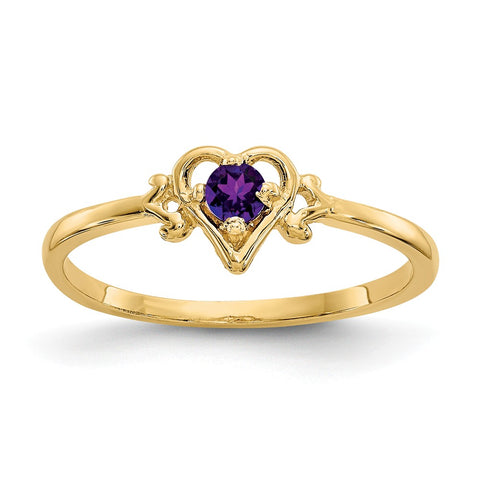 14K Amethyst Birthstone Heart Ring