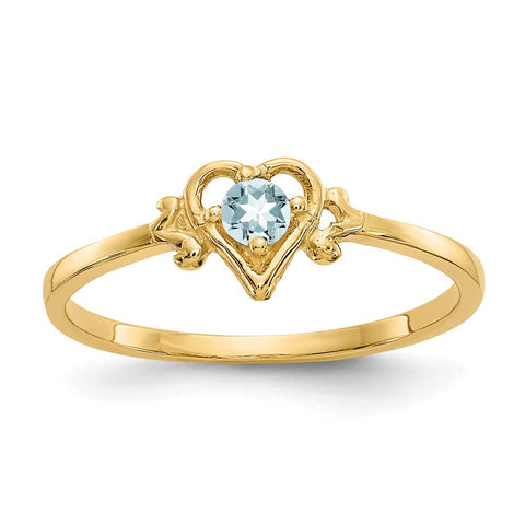 14K Aquamarine Birthstone Heart Ring