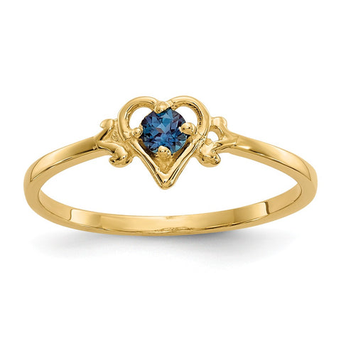 14K Synthetic Alexandrite Birthstone Heart Ring