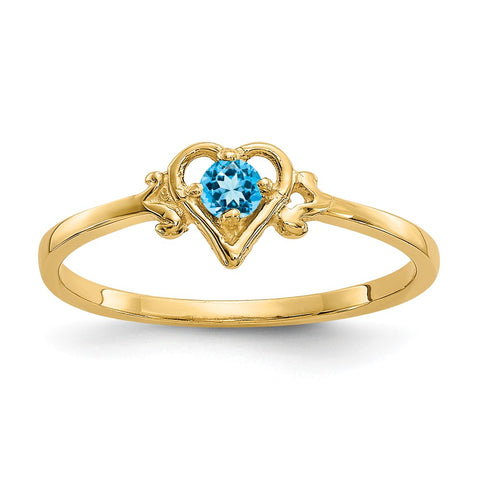 14K Blue Topaz Birthstone Heart Ring