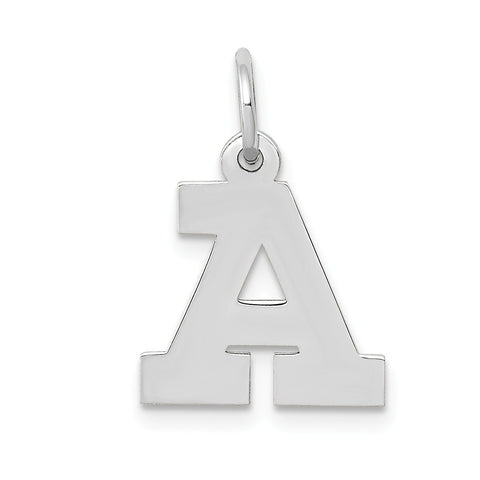 14k White Gold Small Block Initial A Charm