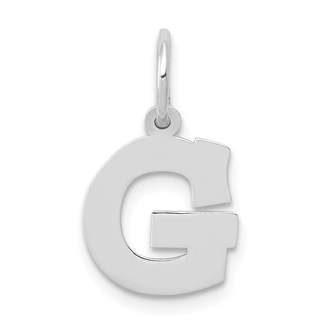 14k White Gold Small Block Initial G Charm
