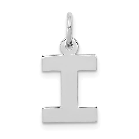 14k White Gold Small Block Initial I Charm