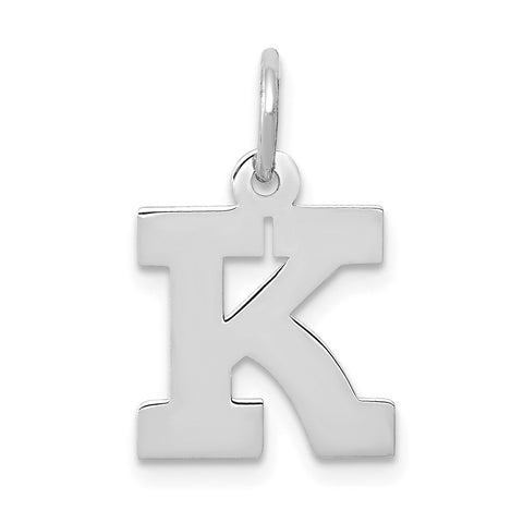 14k White Gold Small Block Initial K Charm