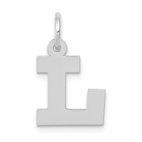 14k White Gold Small Block Initial L Charm