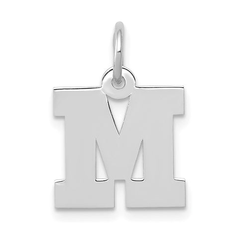 14k White Gold Small Block Initial M Charm