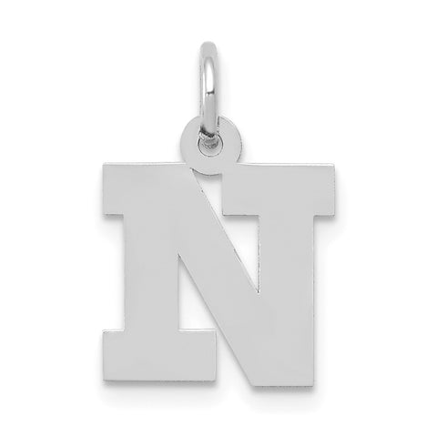 14k White Gold Small Block Initial N Charm