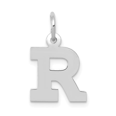 14k White Gold Small Block Initial R Charm