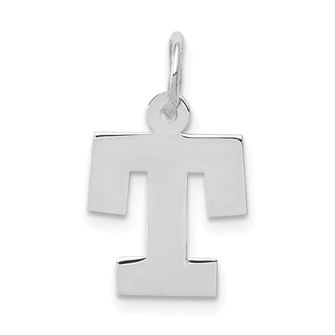 14k White Gold Small Block Initial T Charm