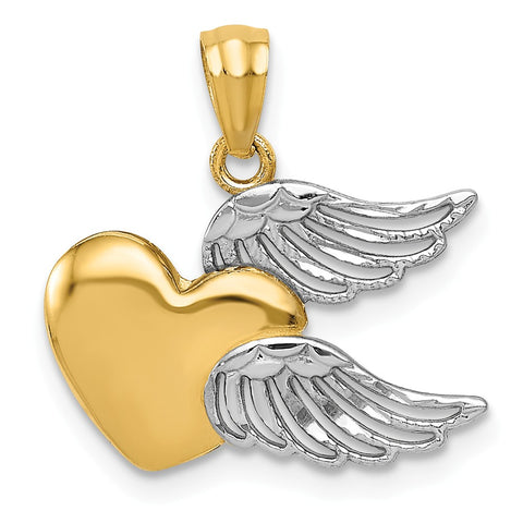 14k and Rhodium Heart with Wings Pendant