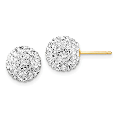 14k 10mm Disco Ball Crystal Stud Earrings