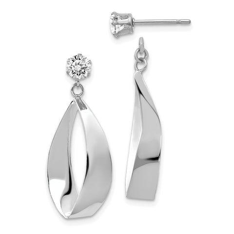 14k White Gold Polished Oval Dangle with CZ Stud Earring Jackets