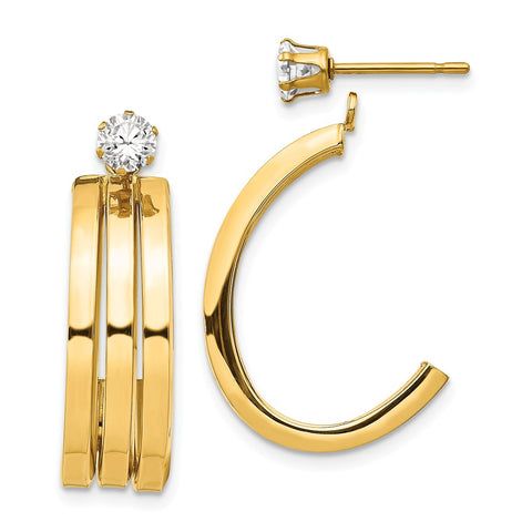 14k Polished J Hoop with 4mm CZ Stud Earring Jackets