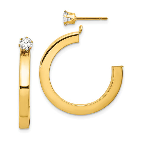 14k Polished J Hoop with CZ Stud Earring Jackets
