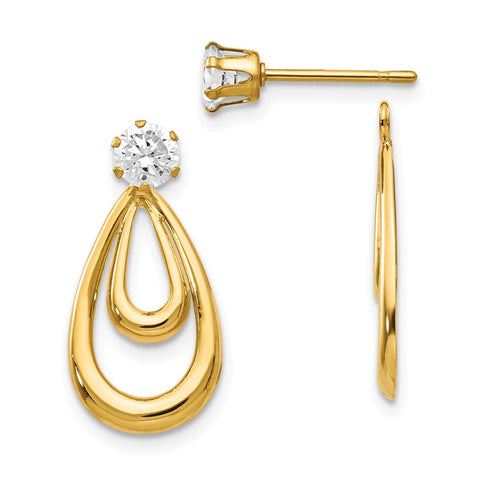 14K Yellow Gold Polished w/CZ Stud Earring Jackets