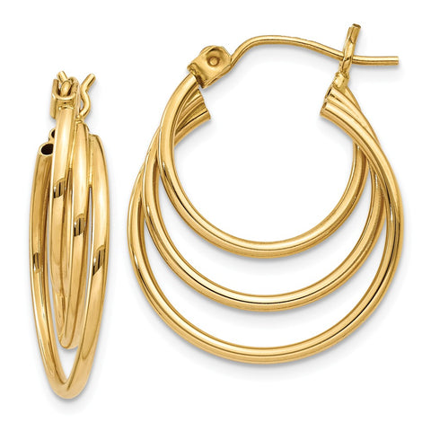 14k Triple Hoop Earrings