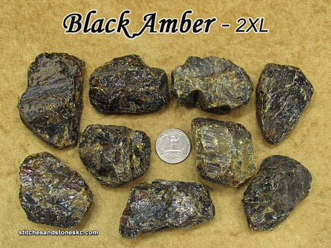 Amber Black Copal raw rough natural stone