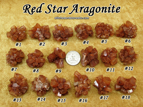 Aragonite Red Sputnik Star Cluster