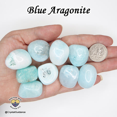 Aragonite Blue tumbled stone