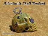 Atlantastite Serpentine Stichtite Crystal Skull Pendant