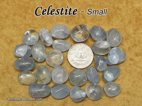 Celestite tumbled stone — multiple sizes available