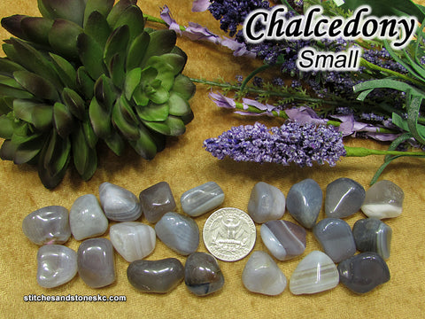 Chalcedony Blue tumbled stone — multiple sizes available