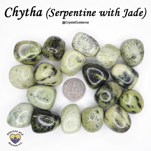Chytha (Serpentine with Jade) tumbled stone