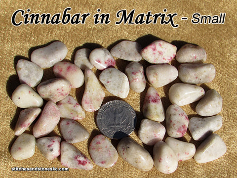 Cinnabar in Matrix tumbled stone