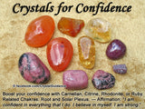Confidence Crystal Healing Set - Carnelian, Citrine, Rhodonite