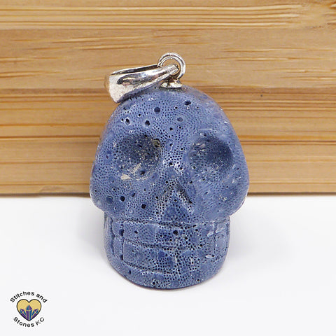Coral Blue Crystal Skull Pendant