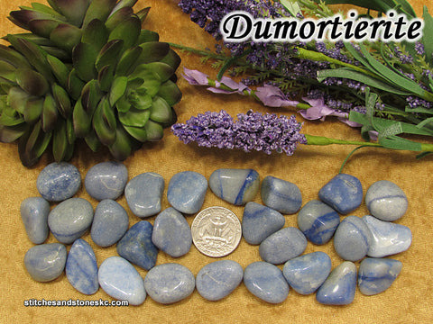 Dumortierite Blue Quartz tumbled stone