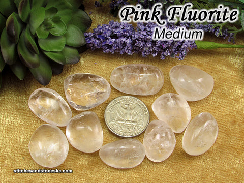 Fluorite Pink and Clear tumbled stone