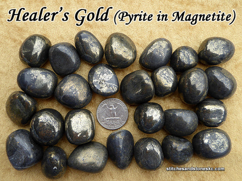 Healer's Gold (Pyrite in Magnetite) tumbled stone