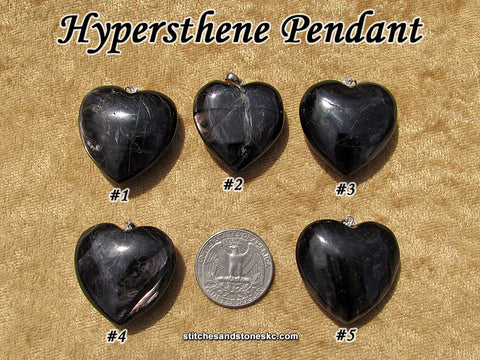 Hypersthene heart pendant