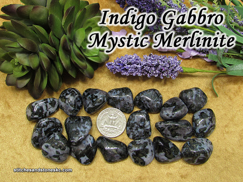Indigo Gabbro Mystic Merlinite tumbled stone