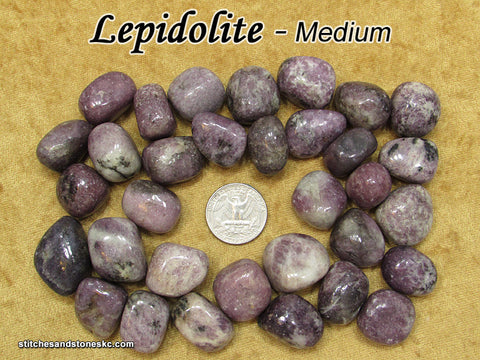 Lepidolite tumbled stone — multiple sizes available