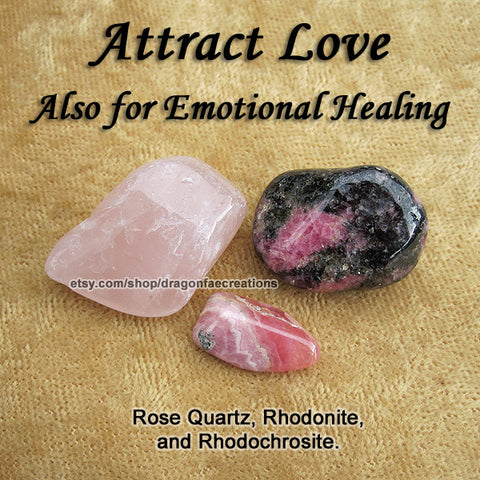Love Crystal Healing Set - Rhodochrosite, Rhodonite, Rose Quartz
