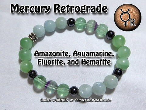Mercury Retrograde Bracelet with Amazonite, Aquamarine, Fluorite Hematite